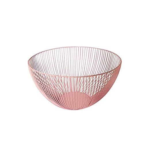 Wire Fruit Basket, Vintage Metal Fruit Snack Storage Basket Fruit Bowl Holder, Bread or Vegetable Platter, Round (pink)