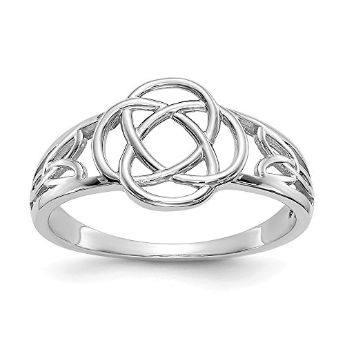 14k White Gold Ladies Irish Claddagh Celtic Knot Band Ring Size 7.00 Fine Jewelry Gifts For Women For Her from ICE CARATS
