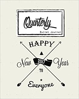 Bullet Journal: Dot Grid, Quarterly Guided, Happy New Year Hipster Style, Notebook, 8