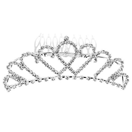 Diadème Couronne de Strass avec Epingle de Peigne pour Mariée Demoiselle de Honneur Filles de Fleur