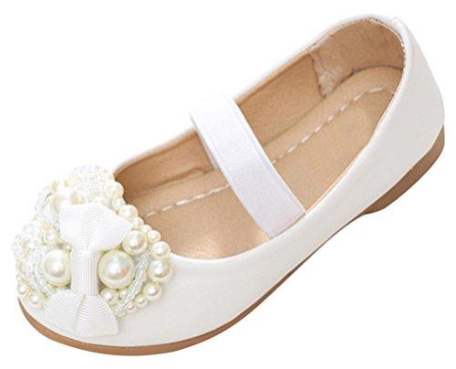SMITHROAD Mädchen Prinzessin Schuhe Blumen Perlen Bow Halbschuhe Casual Slipper Hochzeit Ballerinas Weiß Rosa Gr. 25 bis 35 Weiß mit Gummiband