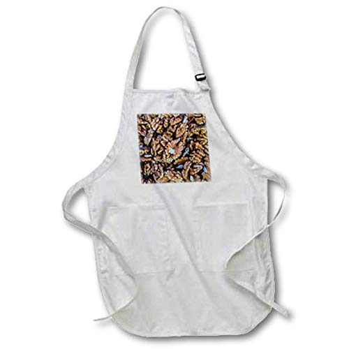 3dRose Alexis Photography - Food Walnut - Image of Fresh Walnut kernels in a Pile. Healthy Organic Natural Food - Medium Length Apron with Pouch Pockets 22w x 24l (apr_319929_2)