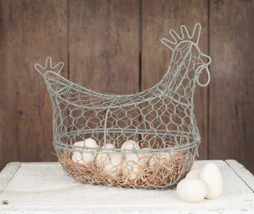 Colonial Tin Works Chicken Wire Egg Basket,grey