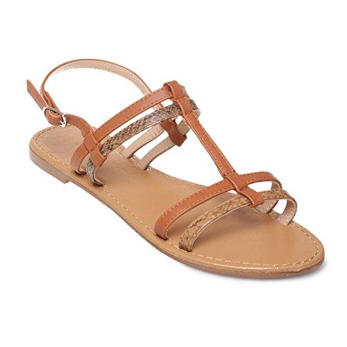La Modeuse - Sandalias de vestir para mujer marrón claro