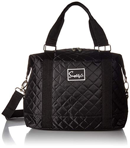 Travel Weekender Overnight Carry-on Under the Seat Shoulder Tote Bag (Small, Black Quilted)]()