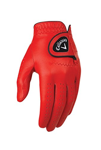 Callaway Golf Men's OptiColor Leather Glove, Red, Cadet Small, Worn on Left Hand