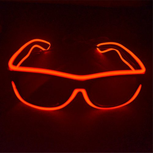 el glasses, el wire with 3v AAA portable controller (Red)