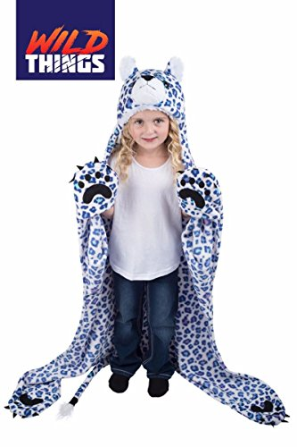 Spotzy Snow Leopard Wearable Hooded Blanket by (Snow Leopard Bedding)