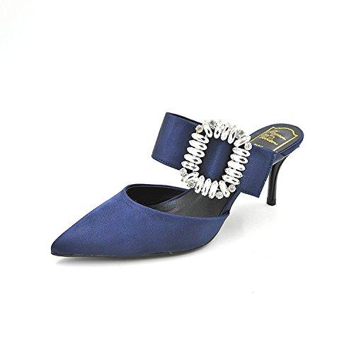 seta i estate Versatile tacco scarpe di calzature primavera acqua donna scarpe con e alto punta sottolineato di ed raso ha Calzature donna foratura alti 34 blu tacchi gentildonna singolo S8OxtwqWR