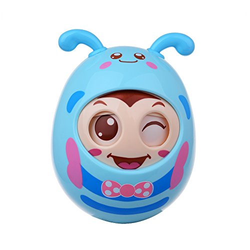 Roly-Poly Baby Wink Tumbler Doll for Fine Hand Eye Coordination and Hearing Motor Skills Newborn Teether Toy—Safe Pacifier Material (Blue)