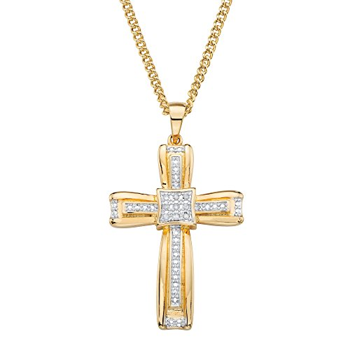 Palm Beach Jewelry White Diamond Accent 14k Gold-Plated Layered Cross Pendant Necklace 22