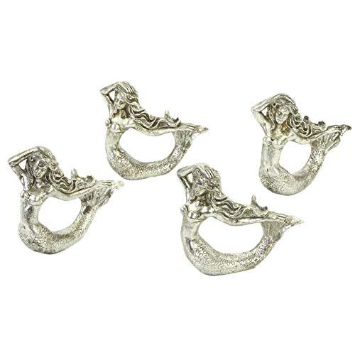 - Koyal Wholesale Mermaid Napkin Rings, Set of 4, Unique Nautical Napkin Rings for Wedding, Thanksgiving, Christmas, Easter, Elegant Modern Gift Ideas (Mermaid, Silver)