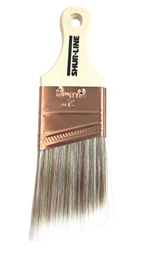 (Shur-Line 55532N Premium Paint Brush, Poly/Nylon Blend Bristles, Angle w/ Fine Tapered Tips, Solid Wood Shortcut Handle, 2-Inch Wide )