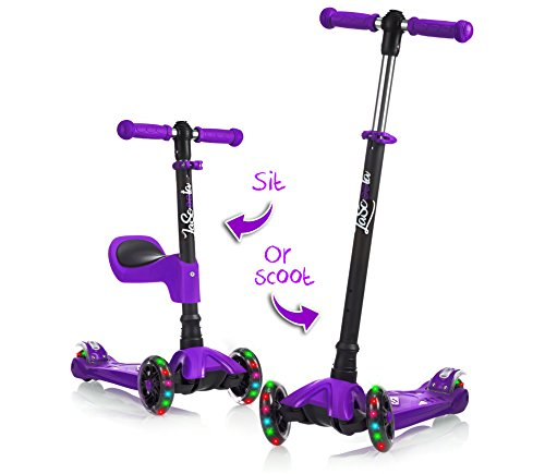 Scooter with Removable Seat Great for Kids & Toddlers Girls or Boys – Adjustable Height w/Extra-Wide Deck PU Flashing Wheels for Children from 2 to 14 Year-Old (Purple) ()
