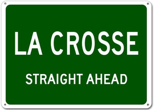 LA CROSSE, KANSAS Straight Ahead Aluminum City Sign - 12 x 18 Inches