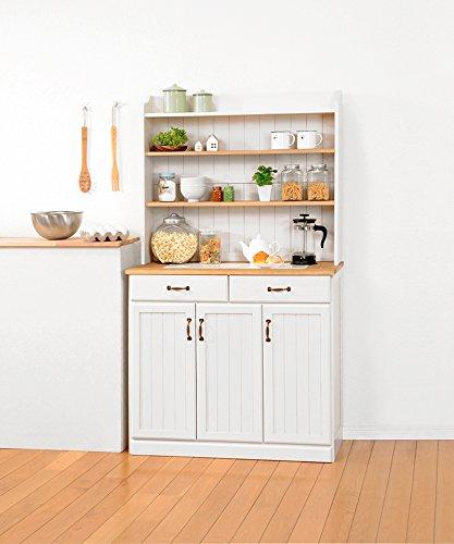 食器棚 キッチンカウンター キッチンラック キッチン収納 調味料ラック レンジ台 ハイタイプ 幅87cm アンティーク カントリー調 (ナチュラルホワイト) B07DBKTDVG  ナチュラルホワイト 幅87cm