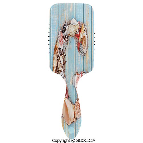 Hair Brush with Air Cushion Combs Theme with Marine Animals Invertebrates Seashell Starfish for Scalp Massage Anti-static, No Hair Tangle