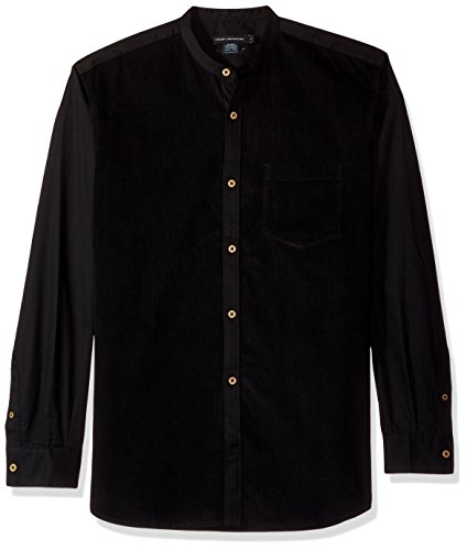 (French Connection Men's Oxford+Corduroy Formal, Black,)