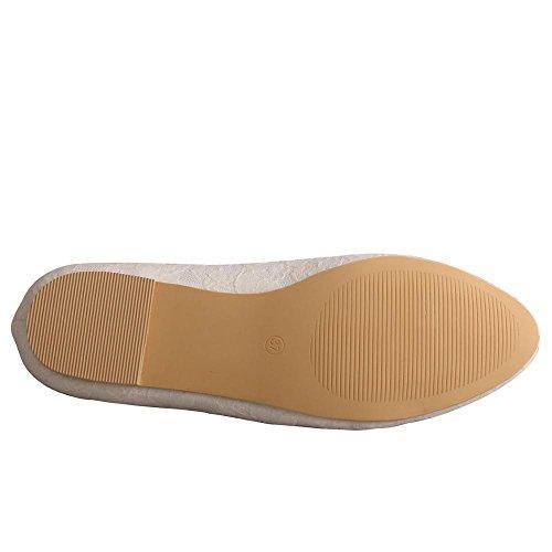 de bajo de para de novia punta con color marfil Zapatos cerrada tacón de de Wedopus MW403 con Pisos vestir ballet encaje mujeres EwaxHpq4