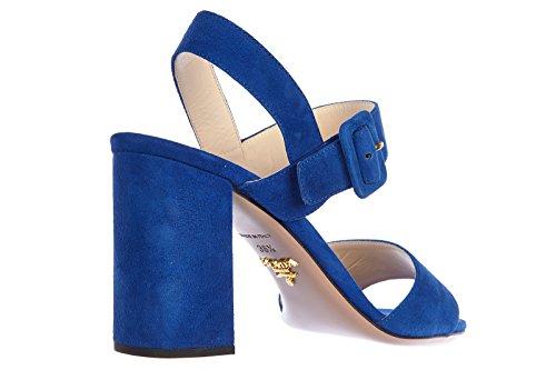 Prada Sandales Femme à Talon en Daim Blu