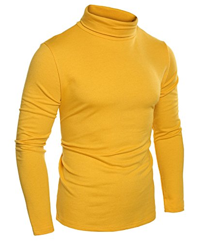 COOFANDY Mens Slim Fit Basic Thermal Turtleneck Sweaters Casual Knitted Pullover Sweaters (M, Yellow)