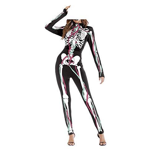 las del Traje muchacha traje de la Cosplay de de mono lujo la total Halloween de impresión piel de Traje mujeres de A la Traje Vestido Huesos del del M esqueleto de S 3D wSFqx4x8Y