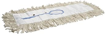 """Impact 17524 4 Ply Cotton Looped-End Traditional Dust Mop with Polyester Backing, 24"""" Length x 5"""" Width, White (Case of 12)"""