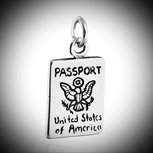 Passport Charm 925 Sterling Silver Travel International U.S. Customs Trip Vintage Crafting Pendant Jewelry Making Supplies - DIY for Necklace Bracelet Accessories by CharmingSS from CharmingStuffS