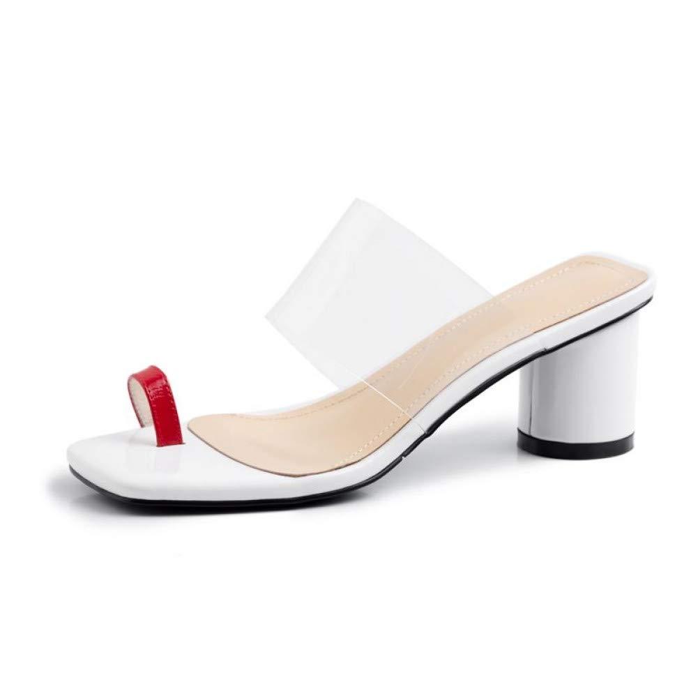 Rouge rouge LIU Plus la Taille 34-43 Les véritables   Sandales pour Femmes Glissent sur des Chaussures Transparentes pour Pantoufles pour Les Les Les dames, Chaussures à Talons, Chaussures d'été