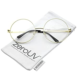 zeroUV - Oversize Metal Frame Slim Temple Clear Lens Round Eyeglasses 60mm (Gold / Clear)