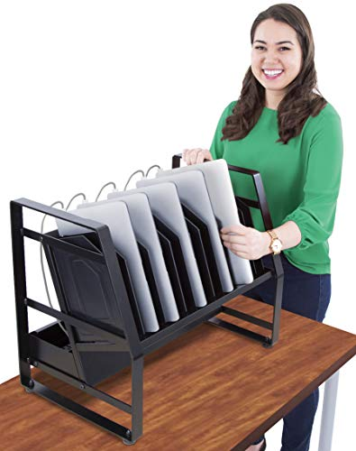 Line Leader 14 Unit Open Charging Cart for Tablets, Chromebooks & More | Place Under Desk or On Desk w/Removable Wheels | 14 Bay Tabletop Cart with UL-Listed Power Strip - Carts Line