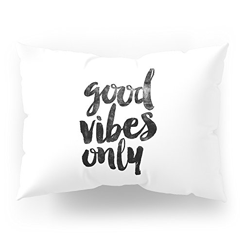 Society6 Good Vibes Only Black And White Typography Poster Black-white Design Home Decor Bedroom Wall Art Pillow Sham Standard (20'' x 26'') Set of 2 by Society6 (Image #1)