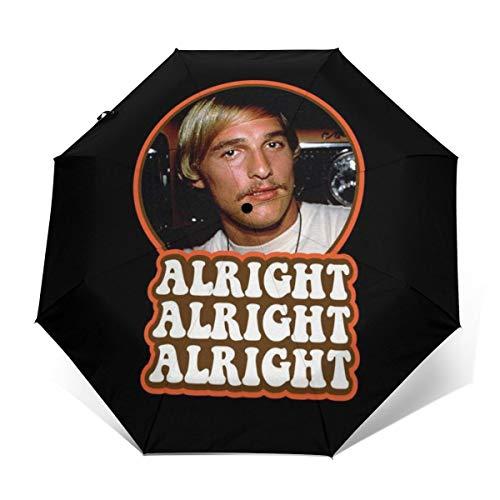 Alright David Wooderson Dazed Confused Windproof Compact Auto Open And Close Folding Umbrella,Automatic Foldable Travel Parasol Umbrella
