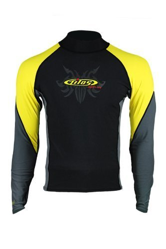 New Tilos Men's 6oz Anti-UV Long Sleeve Rash Guard (Large) for Scuba Diving, Snorkeling, Swimming & Surfing - Black/Yellow/Grey