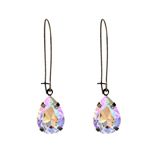 EVER FAITH Austrian Crystal Vintage Style Teardrop Hook Earrings Iridescent Clear AB Antique Gold-Tone ()