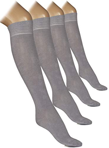 Women Knee High Dress Socks Comfort Seam (Light Grey, Shoe size: 5-8)