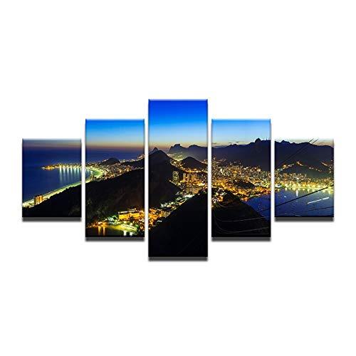 20x35 20x45 20x55cm Frame 5 Panel Canvas Painting Prints Brazilian Rio Bustling Night View HD Home Decor Jesus hugs Mountain Modern Art Landscape