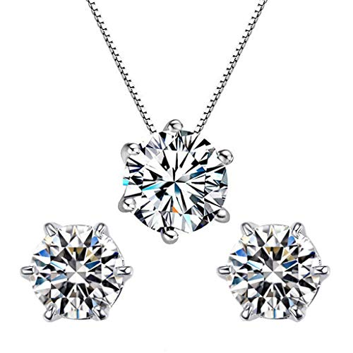 Bestgo Women Necklace,Elegant Silver Crystal Necklace Pendant +1 Pair Ear Studs Sweaters Snake Chain Gift]()