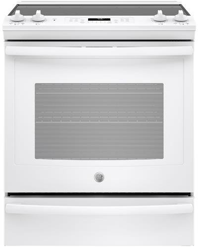 GE JS760DLWW 30 Inch Slide-in Electric Range with Smoothtop Cooktop in White (Electric Warming Drawer Range)