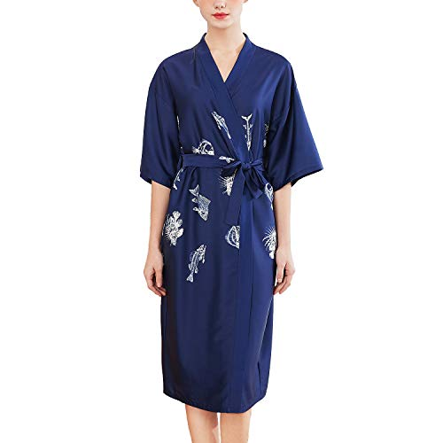 Lu's Chic Women's Satin Kimono Robe Long Silky Luxurious Loungewear Spa Hotel Soft Nightgown Navy US XL (Tag2XL) - Nightgown Tea Length