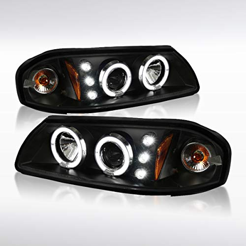 Autozensation For Chevy Impala Black LED Dual Halo Projector Headlights Lamps w/Signal