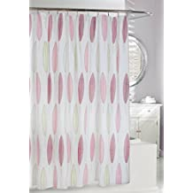 Moda At Home Inc 254622 Feathers PEVA Waterproof Shower Curtain, 70-Inch X 72-Inch, White, Rose, and Green