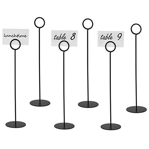Metal Place Card - MyGift 12 Inch Place Card Holders, Metal Table Number Stands, Set of 6, Black