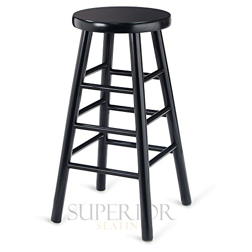 Backless Commercial Wood - Black Wood Traditional Backless Commercial Bar Stool