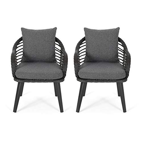 Great Deal Furniture Madison Outdoor Wicker Club Chairs with Cushions (Set of 2), Gray and Dark Gray (Patio Faux Wicker Chairs)