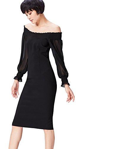 Kleid Black Damen Schwarz Schulterfreies FIND Midi Z41SwO