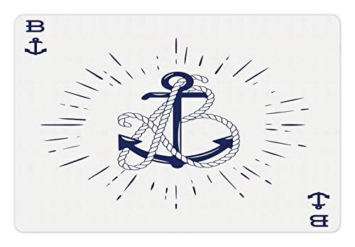 Ambesonne Vintage Nautical Tattoo Pet Mat for Food and Water, Vintage Anchor and Rope Starbursts Cardinal Directions Print, Rectangle Non-Slip Rubber Mat for Dogs and Cats, Indigo and White]()