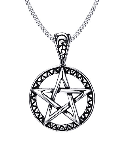 VNOX Stainless Steel Pentagram Pendant Necklace for Men Women Wiccan Jewelry