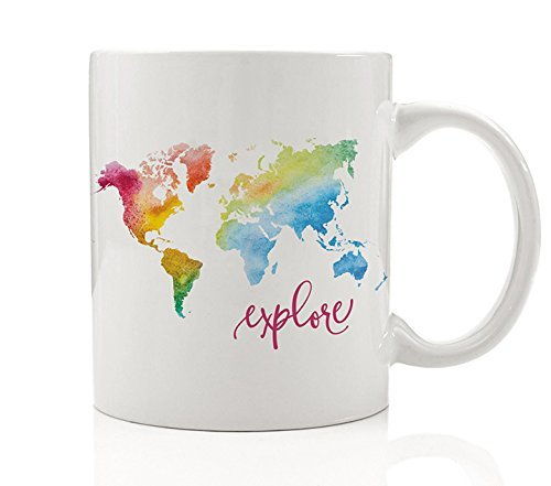 Christmas Traveler - Explore Mug Rainbow Watercolor World Map Coffee Gift for Traveler Pretty Colorful Travel Cup Tea Christmas Graduation Present by Digibuddha DM0008