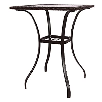 """Mix Brown Patio Square PE Rattan Bar Table Glass Top 37"""" Height"""